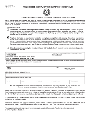 Texas tax exempt form hotel fillable - Fill Out and Sign Printable
