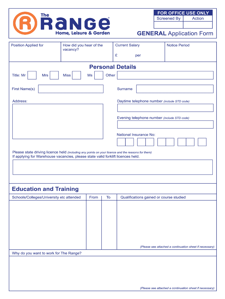 Get And Sign The Range Application Form