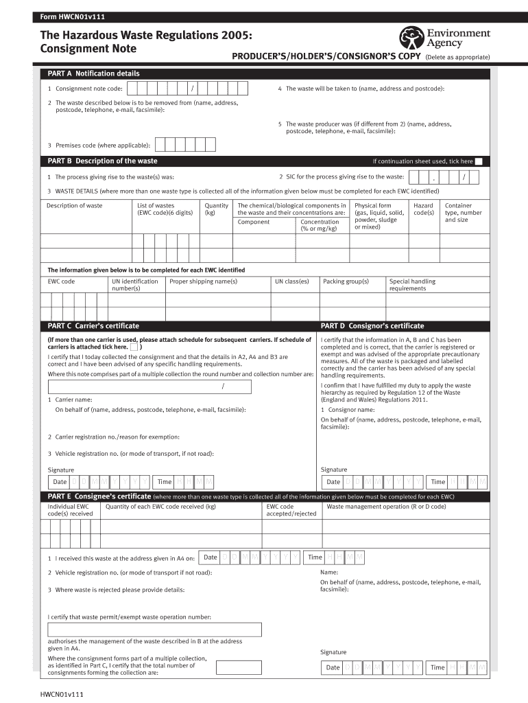Get And Sign Hazardous Waste Consignment Note Excel 2005-2021 Form