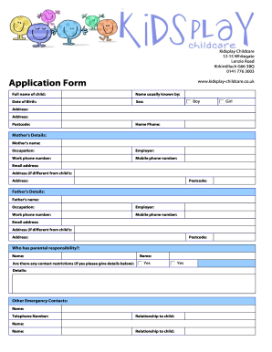 picture about Printable Daycare Forms identified as Daycare registration sort template - Fill Out and Indication