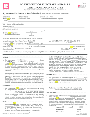 Sample Of Purchase And Sale Agreement Real Estate Ns Filled