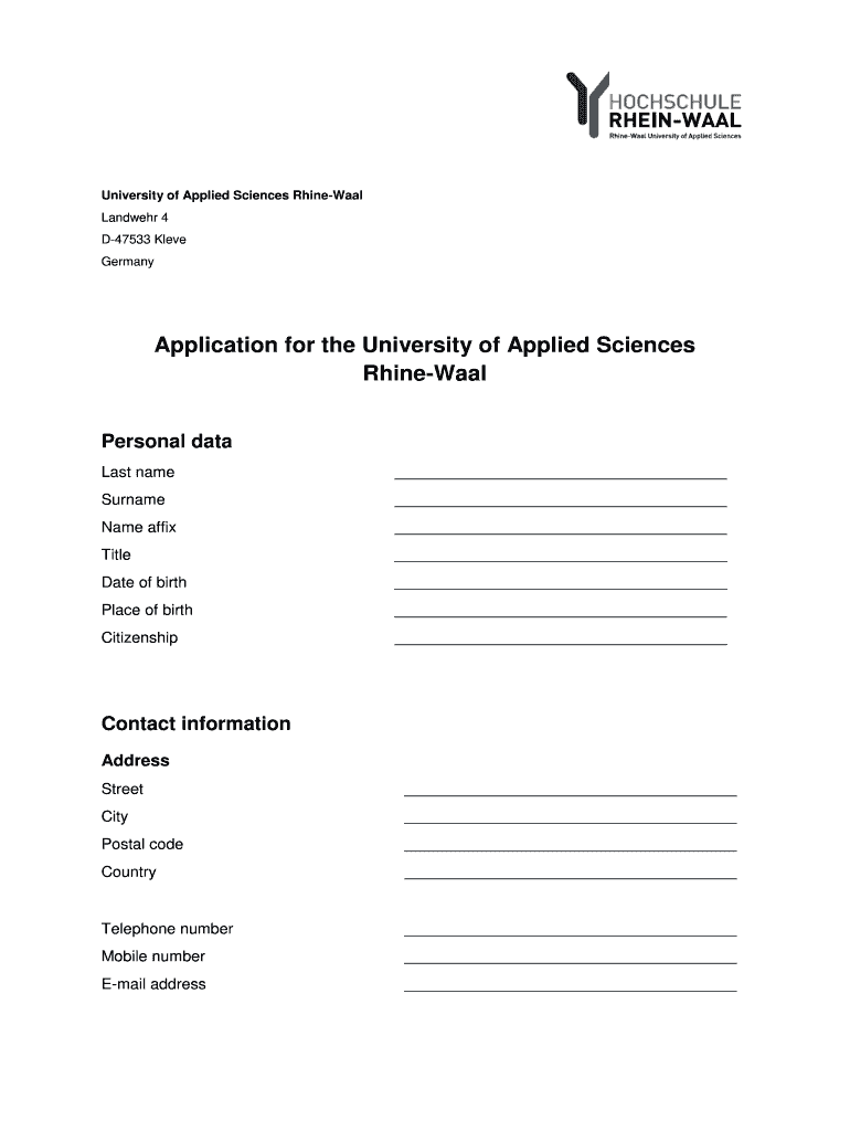 Get And Sign Rhine Waal University Application Form