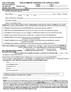image relating to Printable Birth Certificate Form identified as Blank texas start certification type - Fill Out and Signal