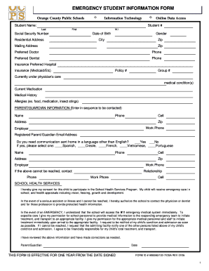 Get And Sign Student Information Form Pdf 2005-2021