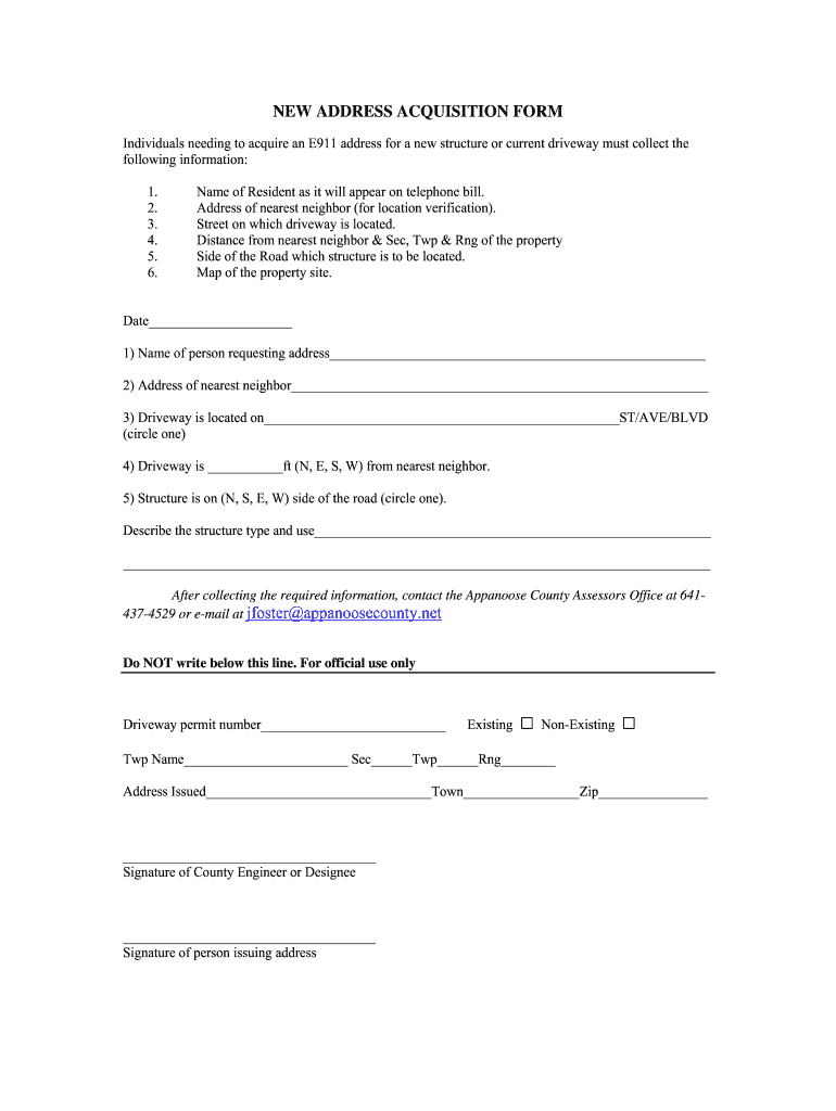 Get And Sign New Address Aquisition Form  Appanoose County, Iowa