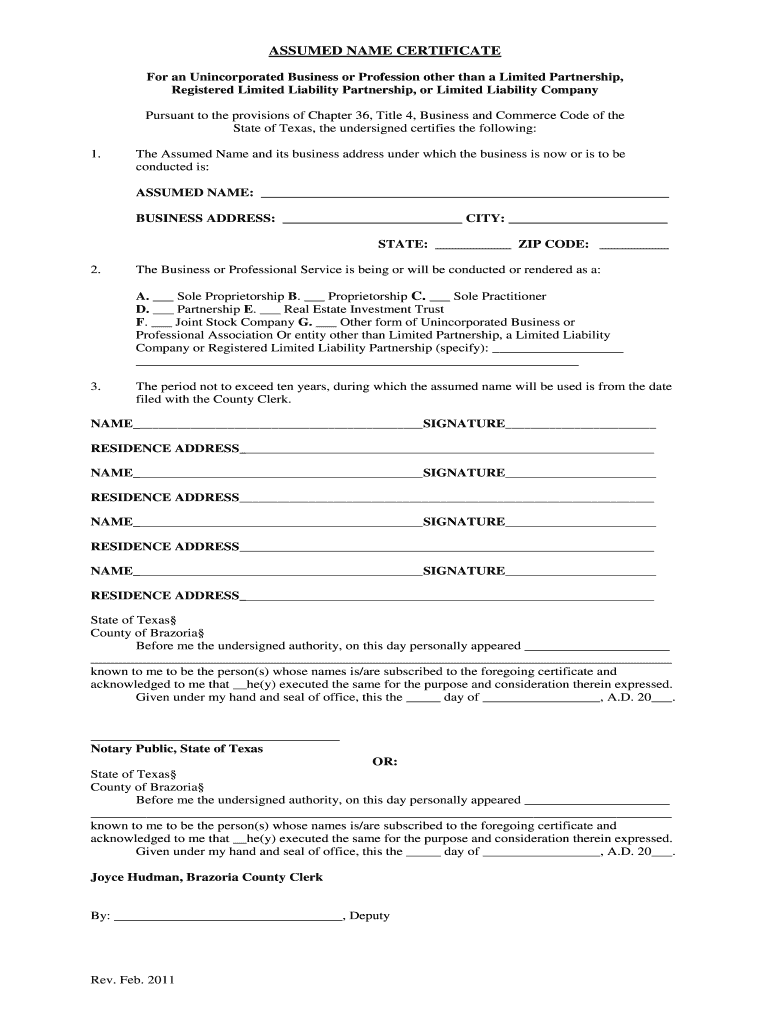 Get And Sign Brazoria County Dba 2011-2021 Form