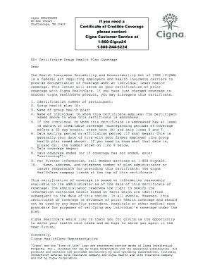 Cigna insurance certificate form - Fill Out and Sign ...