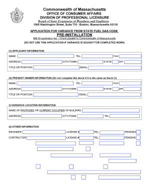 Ma Division Of Professional Licensure >> Ma Plumbing Variance Form Fill Out And Sign Printable Pdf Template