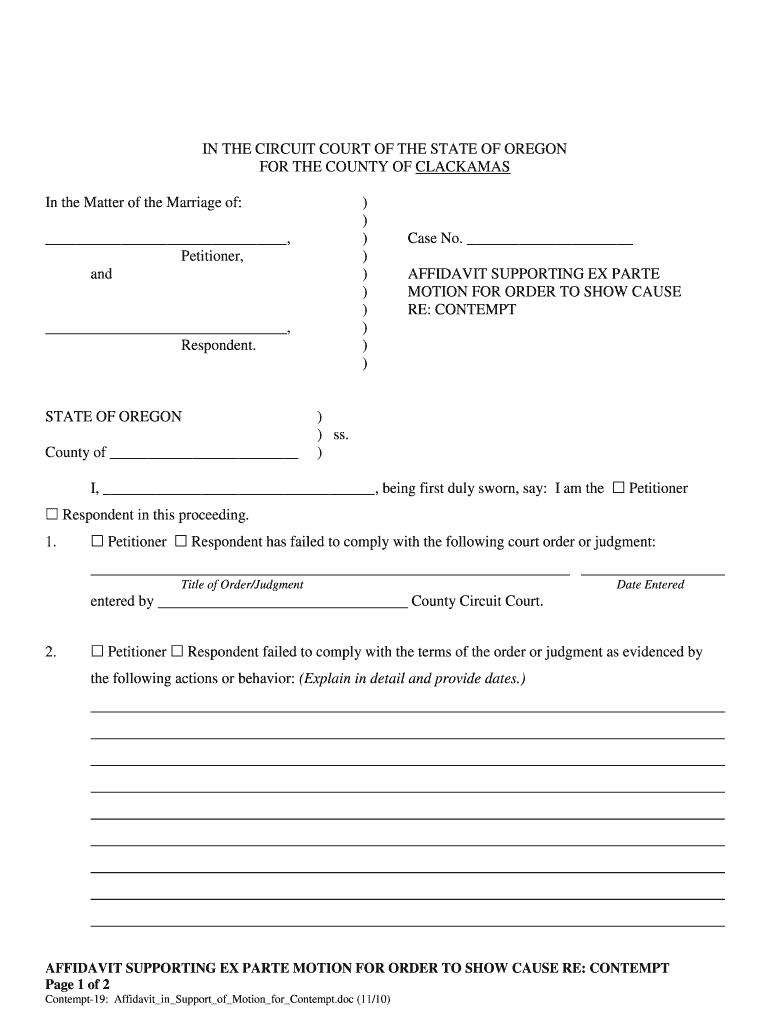 Motion For Contempt Fill Out And Sign Printable Pdf Template Signnow