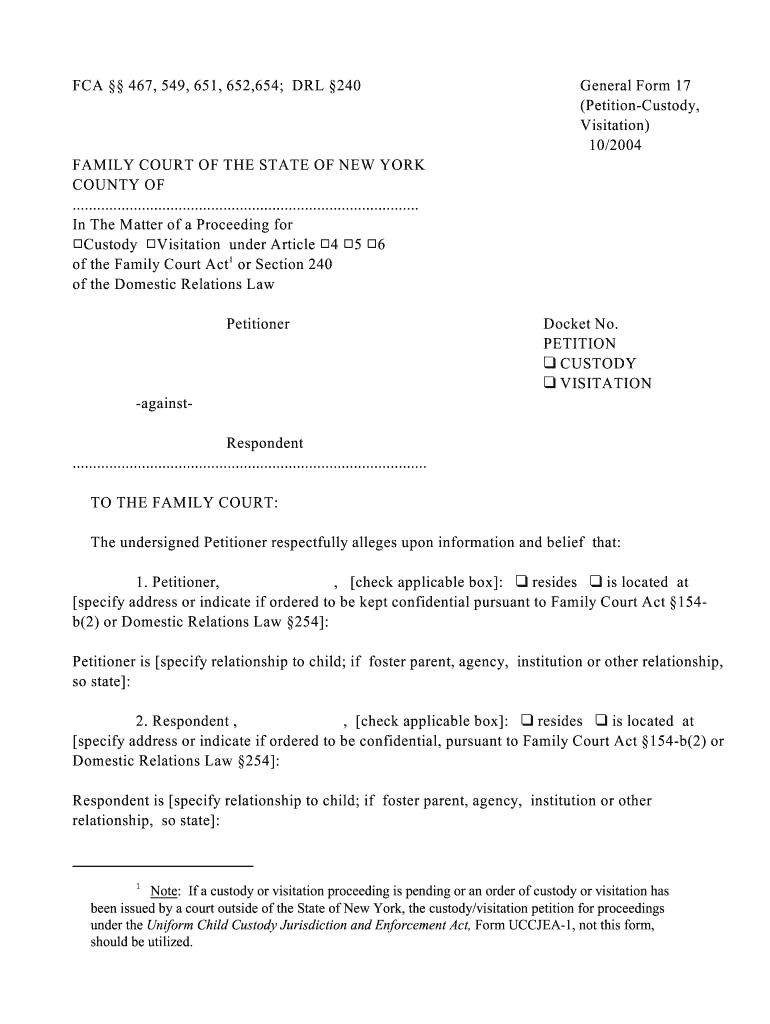 Family Court Petition Forms