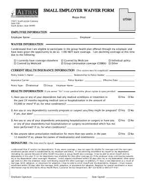 Altius Waiver Of Health Insurance Coverage Form Fill Out