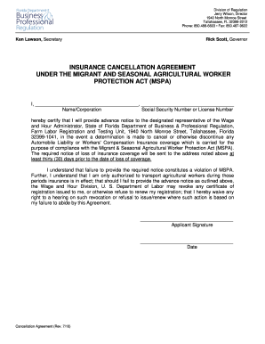 Insurance Cancellation Agreement Under Mspa Form Fill Out