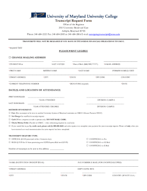 University of maryland europe transcript request form - Fill Out and