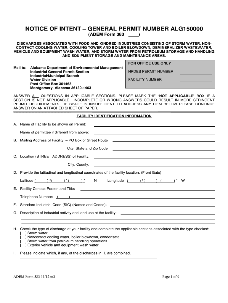 Get And Sign Draft Form 383  ALG150000  Alabama Department Of    Adem Alabama 2012-2021