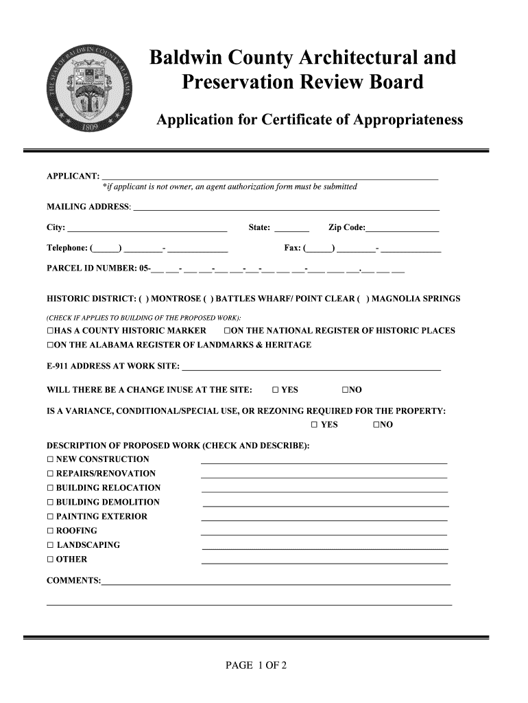 Get And Sign Application For Certificate Of Appropriateness  Baldwin County Form