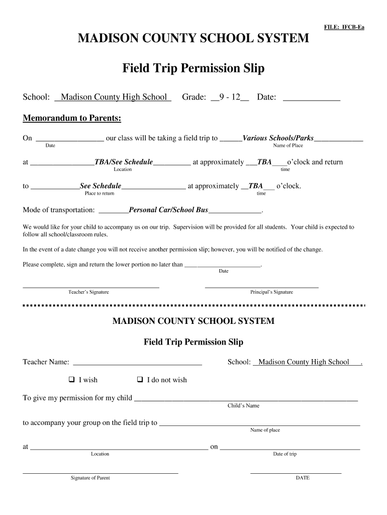 Get And Sign Permission Slip For Field Trip Form