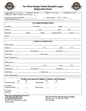 graphic about Printable Registration Form Template named Printable Printable Baseball Registration Variety Template