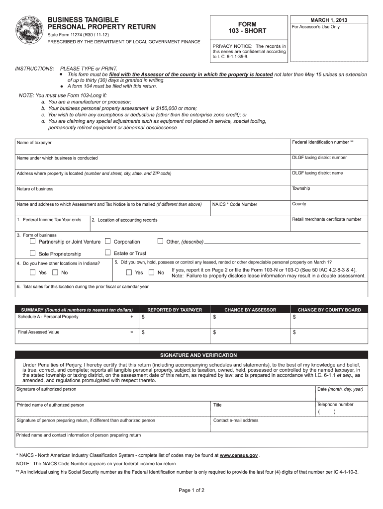 Get And Sign Indiana Form 103 2012-2021