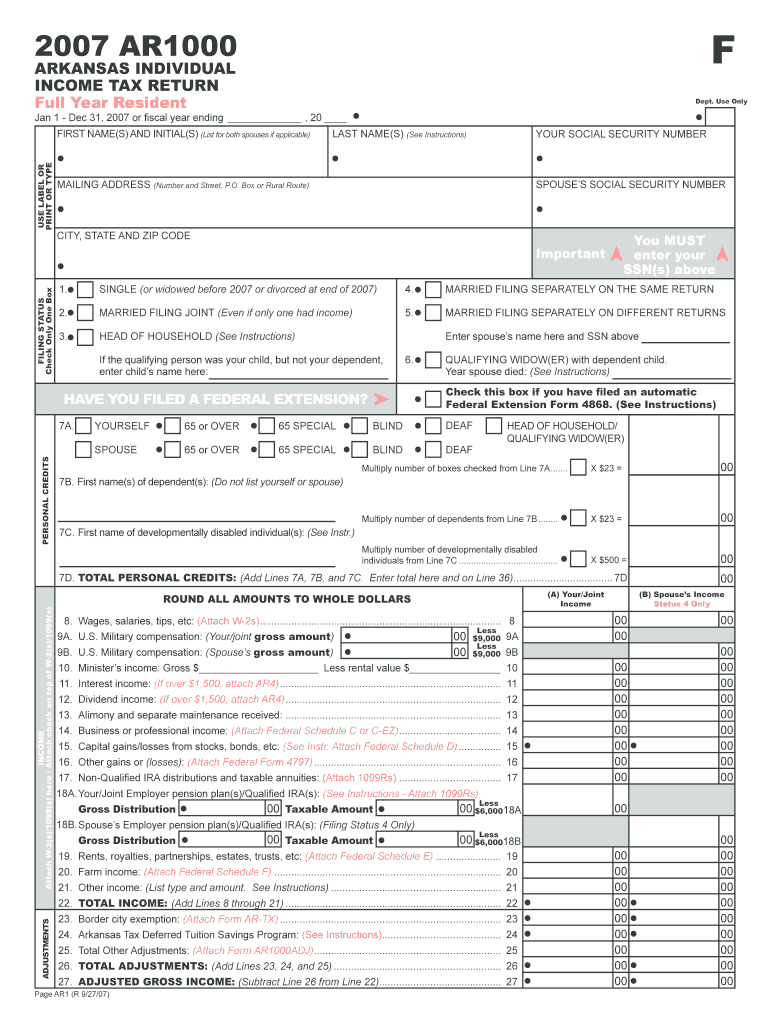 Get And Sign F AR1000 ARKANSAS INDIVIDUAL INCOME TAX RETURN Full Year Resident Dept Arkansas 2019-2021 Form