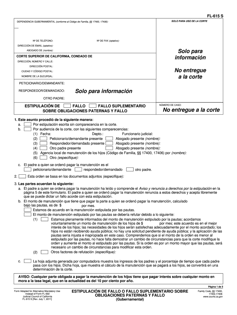 Get And Sign FL 615s Stipulation For Judgment Or Supplemental Judgment Regarding Parental Obligations And Judgment Governmental Spanish 2011-2021 Form
