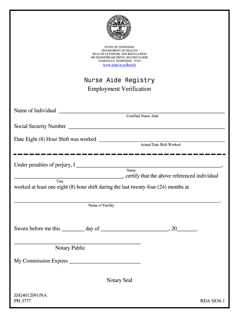 Get And Sign Tennessee Employment Verification Form