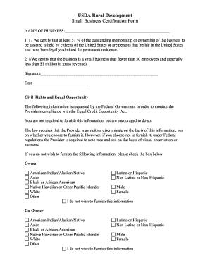 USDA Rural Development Small Business Certification Form