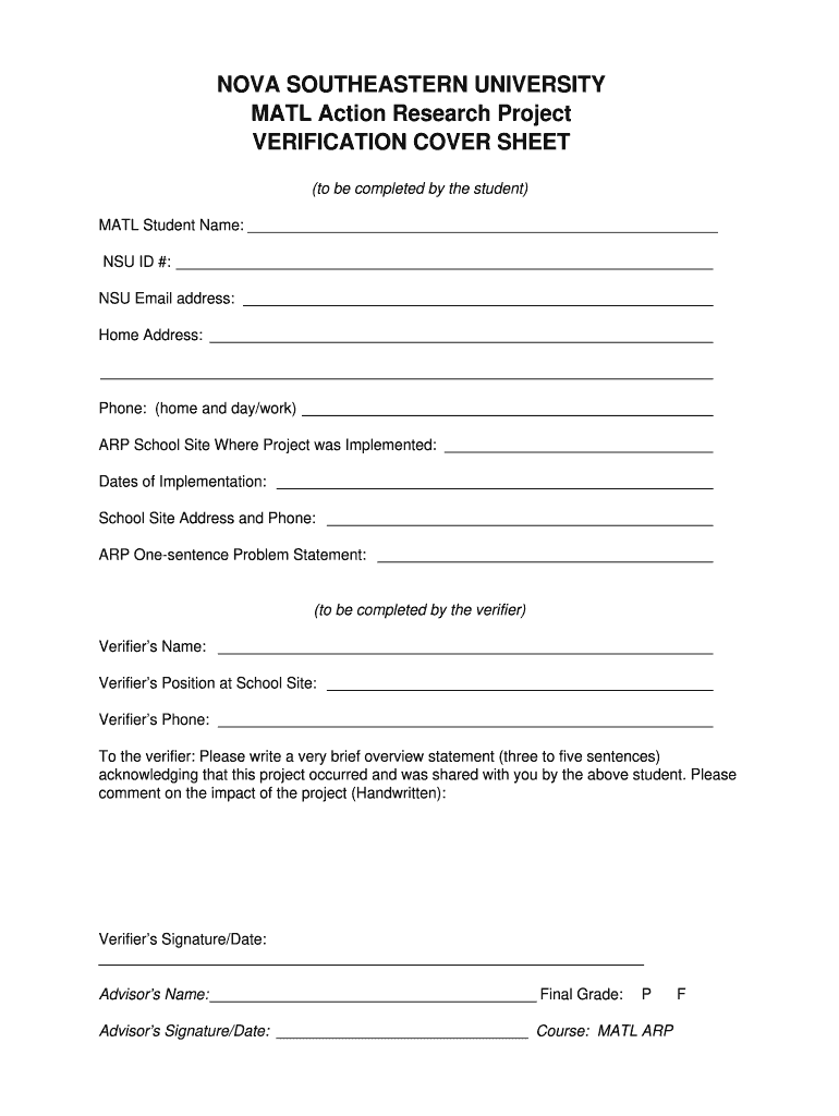 Arp Form Fill Out And Sign Printable Pdf Template Signnow Nova Southeastern University Dissertation