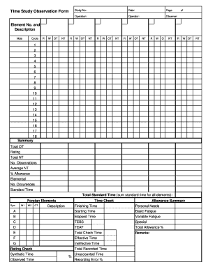 Time Study Form Fill Out And Sign Printable Pdf Template