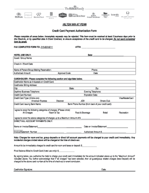 Hilton Credit Card Authorization Form Fill Out And Sign