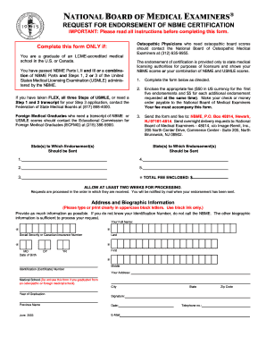 Request endorsement nbme certification form - Fill Out and Sign