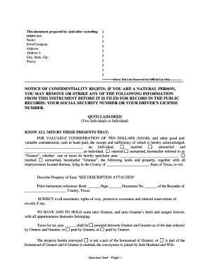 quick claim deed form texas  Quitclaim deed texas - Fill Out and Sign Printable PDF ...