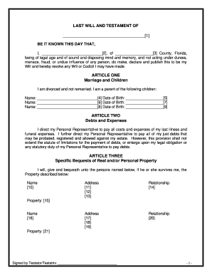 graphic relating to Printable Will Form referred to as Florida will type - Fill Out and Signal Printable PDF Template