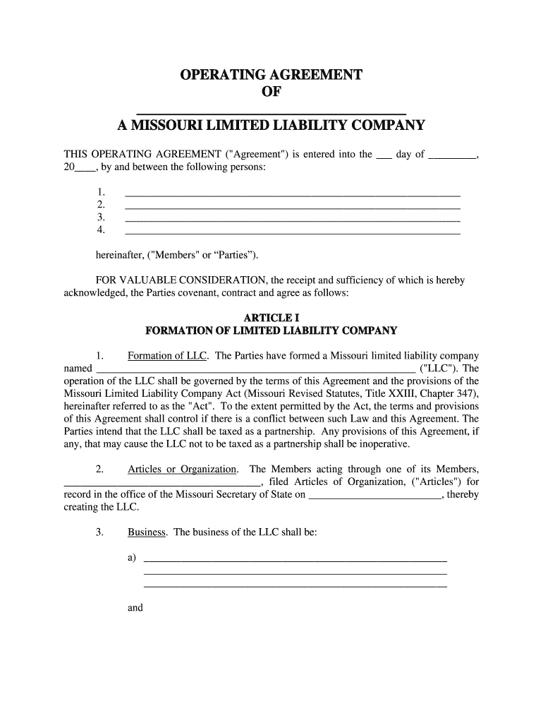 Get And Sign Llc Operating Agreement Missouri Form