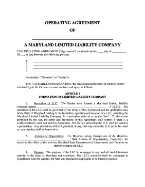 Maryland Limited Liability Company Llc Operating Agreement Form