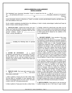 Arizona Residential Lease Or Rental Agreement For Month To