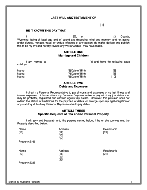 Last Will And Testament Template For Married Couple Fill