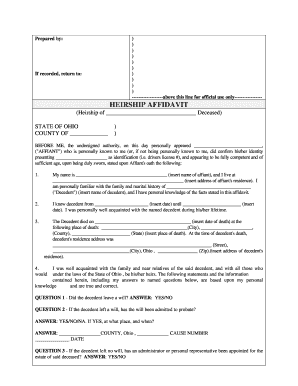 picture regarding Printable Affidavit named Ohio affidavit descent variety - Fill Out and Indication Printable