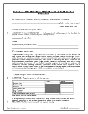 picture about Printable Purchase Agreement named Accurate estate acquire settlement indiana sort - Fill Out and