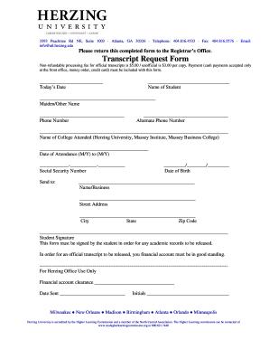 Get And Sign Herzing Transcript Form