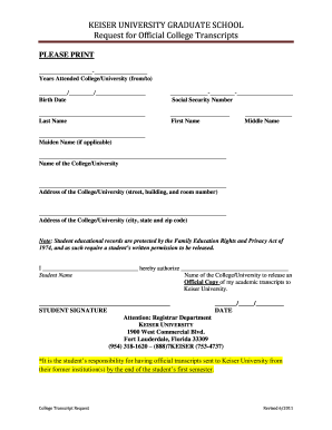 Keiser university online transcript request form - Fill Out