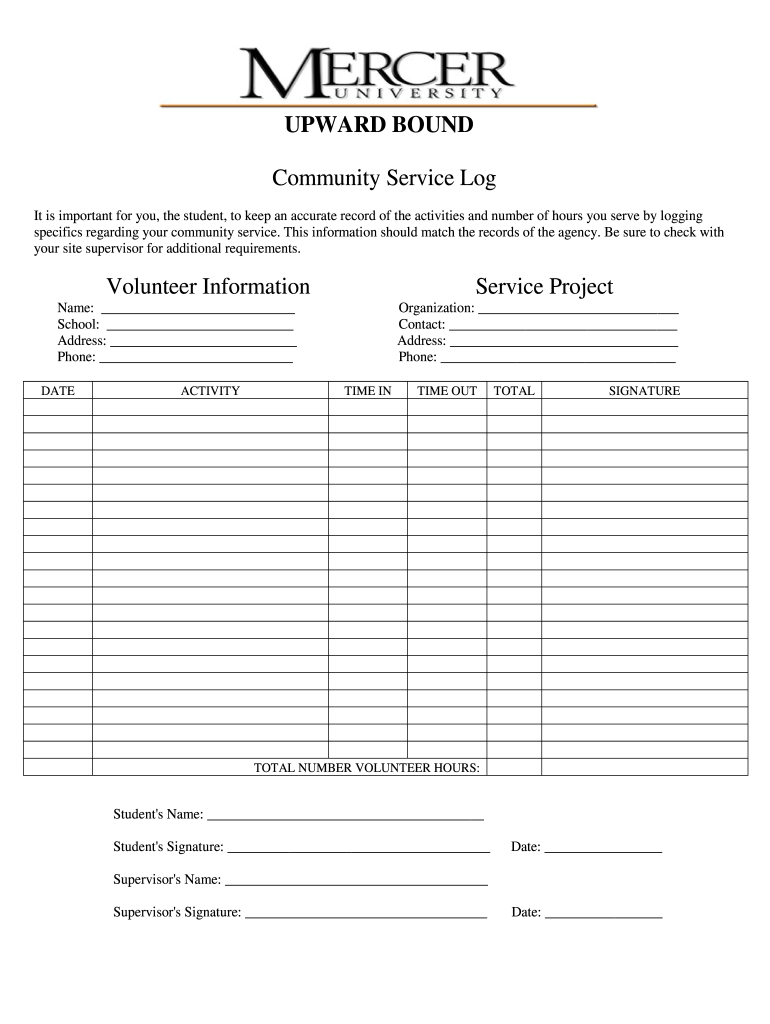 Get And Sign Community Service Documentation Form