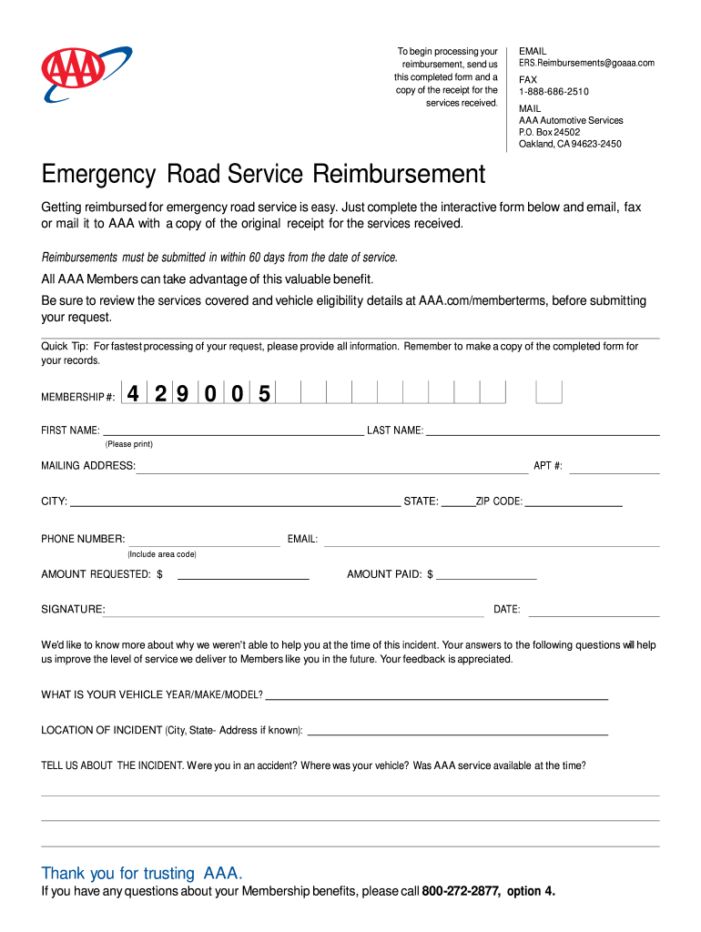 Get And Sign Emergency Road Service Reimbursement Form