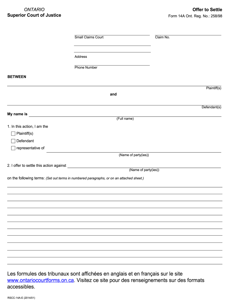 Get And Sign Ontario Offer Settle 2014-2021 Form