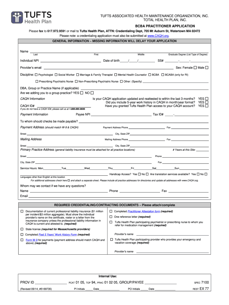 Get And Sign BCBA Practitioner Application  Tufts Health Plan 2014-2021 Form