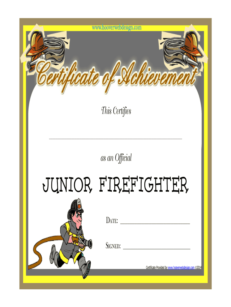 Get And Sign Junior Firefighter Certificate Form
