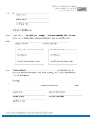 Direct deposit form bmo - Fill Out and Sign Printable PDF