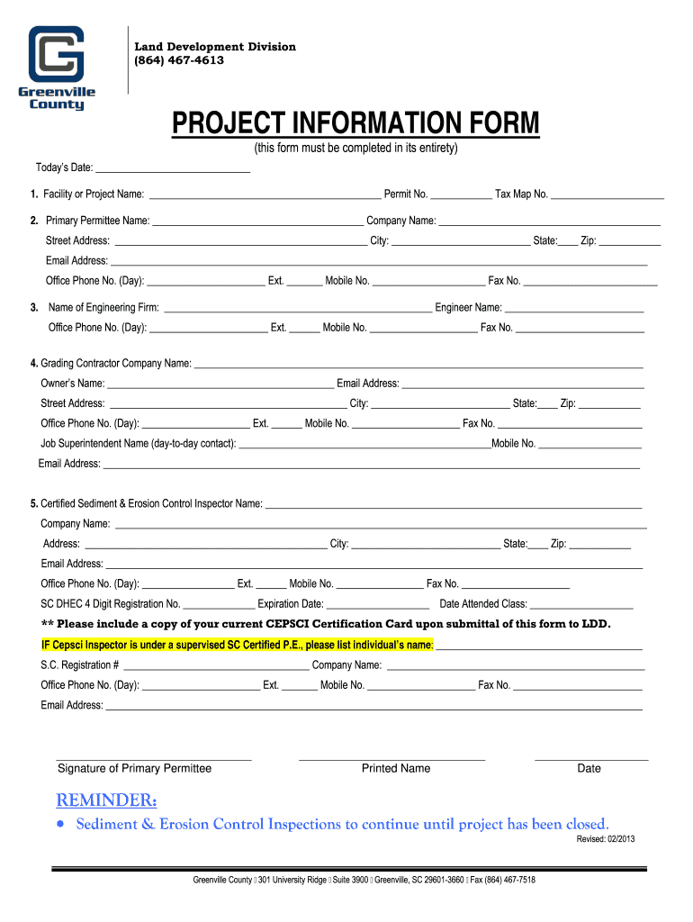 Get And Sign PROJECT INFORMATION FORM  Greenville County  Greenvillecounty 2013-2021