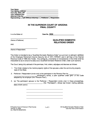 graphic relating to Free Printable Qdro Forms called Pinal county qdro variety - Fill Out and Indication Printable PDF