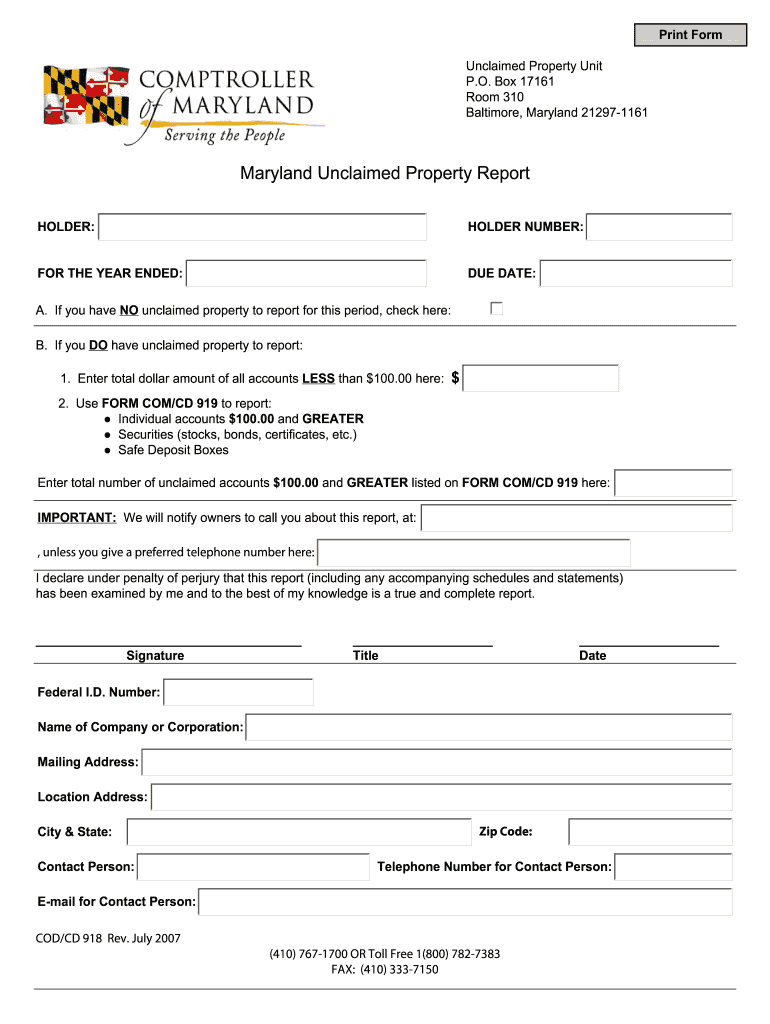 Get And Sign COTST 918  Comptroller Of Maryland 2007-2021 Form