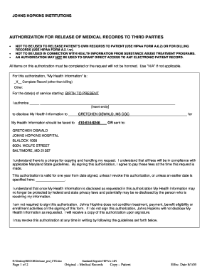 MEDICAL RELEASE FORM - Johns Hopkins Medicine